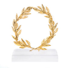 Olive Wreath, Handmade Brass Ornament with Golden Patina - Height 14cm (5.5'')
