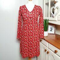 MUDD & WATER Ladies (UK Size 10) Tunic Dress - Red Ditsy Print Cotton Organic