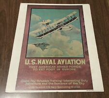 Vintage 1974 Us Government Reprint Poster Us Naval Aviation Recruiting 14 x 11  00004000