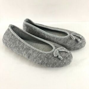 Womens Ballet Flat Slippers Fabric Bow Slip On Gray Size 5/6