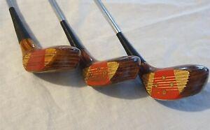 Vintage PGF Status MKII Persimmon Wood Set 1,3 & 5 Men's Left Hand Ted Ball