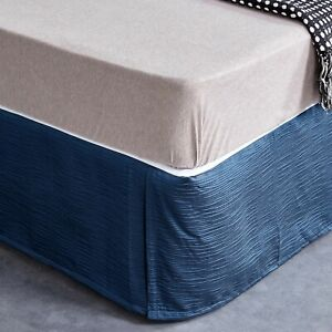 New Premium Quality PolyCotton Bed Skirt Bed Valance Corrugated pattern 6 colour