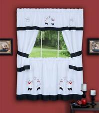 "Chef Gourmet Complete Cottage Kitchen Curtain set  Embroidered - Beige 36"" L"