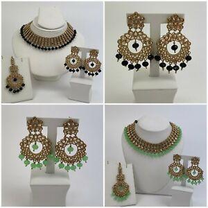 Indian Pakistani Jewellery Wedding Party Wear Necklace With Earrings & Tikka