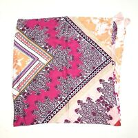 Chicos Women's Paisley Floral Print Scarf Pink Orange One Size Fits All Rayon