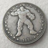 Hobo Nickel Coin 1881-CC Morgan Dollar MARVEL HULK Coin
