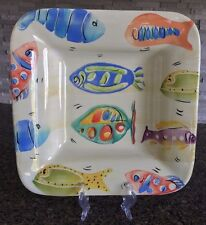 """Antica Fornace Ceramiche Da Tavola Italy Fish Square Platter 14"""""""