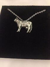 """Cow R163 English Pewter on a Silver Platinum Plated Necklace 18"""""""