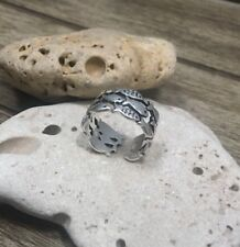 Fish Ring Beach Nautical Adjustable Silver Cuff Band Mermaid Jewelry From US
