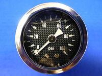 """Marshall Gauge 0-100 psi Fuel Pressure Oil Pressur 1.5"""" Carbon Fiber Face Liquid"""