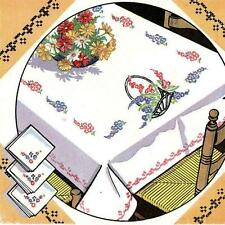 Vintage Hand Embroidery reproduction 201 Baskets of Daisys for Table Cloths