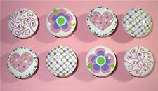 8 - PINK HEARTS & FLOWERS - Dresser Drawer Knobs Pulls