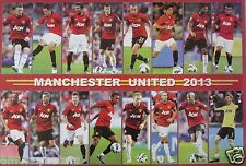 "MANCHESTER UNITED ""2013 SHOTS OF 16 PLAYERS"" POSTER-Soccer, UEFA League Football"