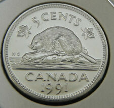 ^^^ 1991 ^^^ - 5 Cent KEY DATE - Canada Nickel - UNCIRCULATED