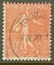 """FRANCE TIMBRE STAMP N°199 """"TYPE SEMEUSE LIGNEE, 50 C ROUGE"""" OBLITERE TB"""