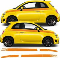 Fiat 500 595 Abarth Side Stripes Decals Stickers panel fit any colour