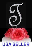 "Large Rhinestone Crystal Monogram ""T"" Wedding Cake Topper 5"" inch High Silver"