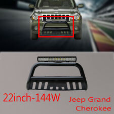 Jeep Grand Cherokee Nudge Bar Black Grille Guard11-17+144w Cree LED light+Wiring