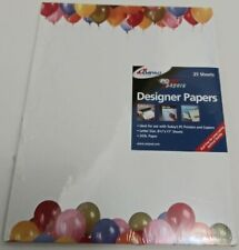 """Birthday Balloons Designer Invitation Papers - 25 Sheets 8.5'' x 11"""" Sealed"""