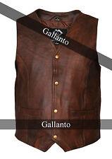 Brown Classic Mens Motorcycle Leather Waistcoat Vest MotorBiker Vintage