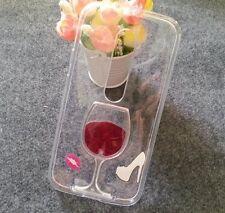 For Motorola Moto G (3rd Gen) - Clear Red Wine Glass w/ Liquid TPU Rubber Case