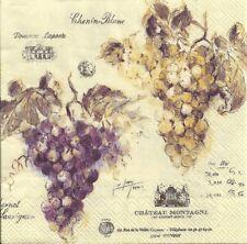Lot de 4 Serviettes en papier Vin de France Raisin Decoupage Decopatch