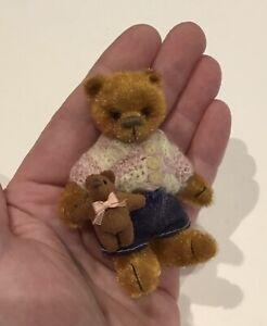 "Miniature Teddy Bear Looks Handmade OOAK Little Bloomers 3"" Tiny Knitted Cardy"