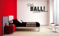 PLAY BALL  BASEBALL  LETTERING DECAL WALL DECOR VINYL STICKER SPORTS KIDS ROOM