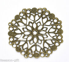 30 Gift Bronze Tone Filigree Flower Wraps Connectors 50mm