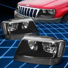 Fit 1999-2004 Jeep Grand Cherokee WJ Black/Clear Corner housing Headlights