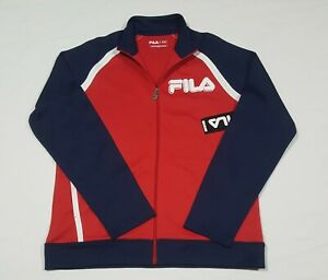 Fila Mens Sports Track Color Block Jacket Poly/Cotton Red Navy Full Zip