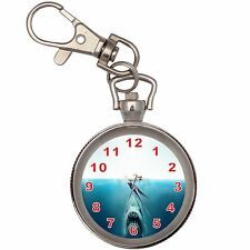 Jaws Silver Key Ring Chain Pocket Watch