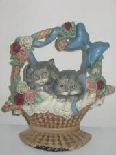 Midwest of Cannon Falls Cast Iron Door Stop Kittens in Flower Basket Roses