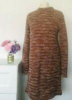 MANGO Dress Size Medium BROWN WHITE   Shift Boucle Effect Casual Work Holiday