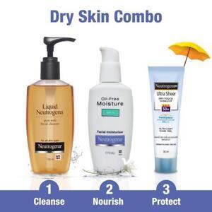 Neutrogena Dry Skin Combo Cleanser 150ml Moisturiser 115ml Sunblock SPF 50+ 30ml