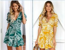 2018 New Summer Women's V-Neck Cocktail Leaf Print Evening Club Sexy Dress #10