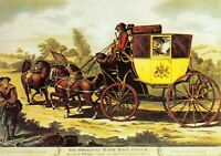 Art Postcard, The Original Bath Mail Coach, Horses, Post Office 44S