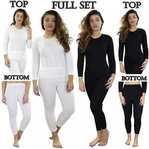 Ladies Thermal Underwear Top Long Sleeve Tshirt Vest Legging Bottom Winter Warm