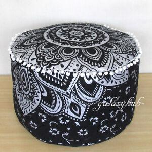 "18"" Round Black Silver Cotton Pouf Ottoman Floor Decorative Footstool Pouf Cover"