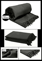 Black Honeycomb (Waffle)  100% Cotton Sofa Throws / Bed Throws in 5 Sizes