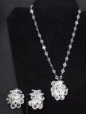 "Vintage Silvertone Clear Rhinestones Set Pendant on 17"" Chain Clip-On Earrings"