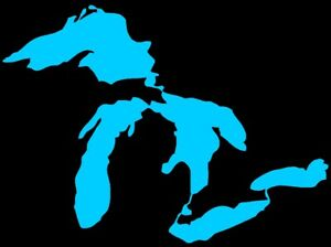 Great Lakes Die Cut Window Sticker Decal BLUE (State of Michigan)