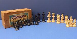 """Vintage Ebonised Boxwood K&C Staunton Chess Set 1930s/40s Boxed 3.5"""" King"""