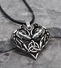 Antique Silver Pl Celtic Eternal Love Triquetra Wolf Heart Pendant Necklace Gift