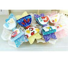 "Set of 4 Princess Glitter Organza Fabric Hair Bow Clips 3.5"""