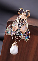 NEW Scarab Beetle & Skull Antique Gold & Faux Abalone Crystal & Pearl Brooch