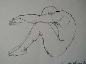 Pencil drawing of a male nude sculpture at the Hungarian National Gallery