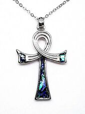Abalone Shell Egyptian Ankh Life Pendant Chain Necklace Silver Fashion Jewellery