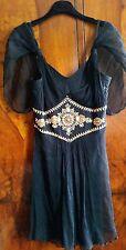 Temperley London Jewellery Beaded Black Silk Chiffon Mini Dress size UK10 RRP400