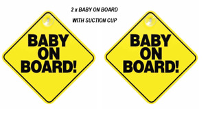 Baby On Board  Car Sign Sticker Window Badge Baby In Car Girl Boy PACK OF 2